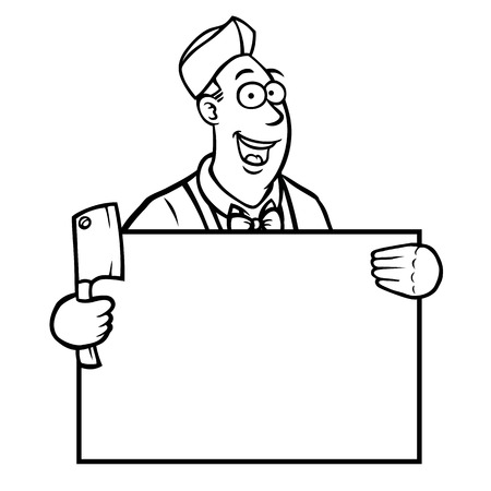 protest sign: Black and white butcher holding a cleaver and a sign Illustration