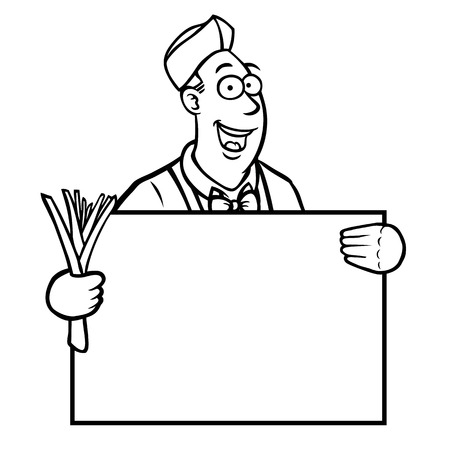 Black and white greengrocer holding a leek and a sign Stock Vector - 22697957