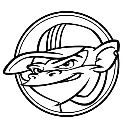 Cool black and white monkey with cap inside a circle.