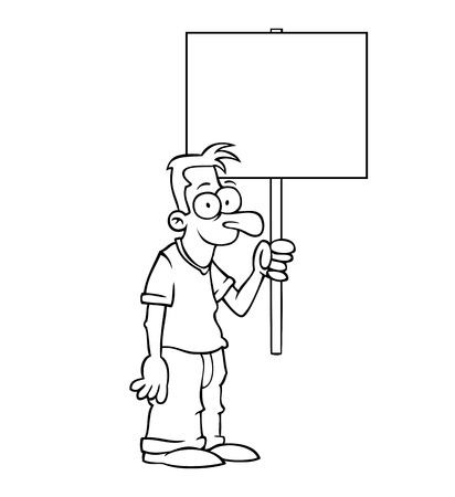 protest sign: Black and white happy man holding an empty protest sign. Illustration
