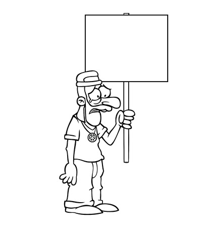 Black and white sad hippie holding an empty protest sign. Vector