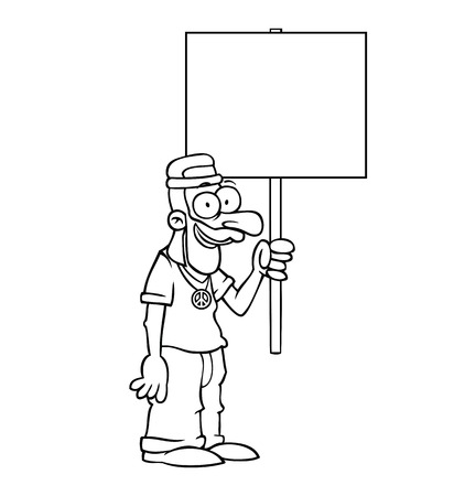 Black and white happy hippie holding an empty protest sign. Vector