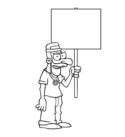 Black and white angry hippie holding an empty protest sign. Vector