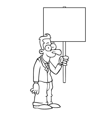 Black and white happy business man holding empty protest sign. Vector