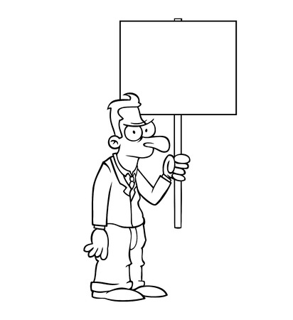 protest sign: Black and white angry business man holding empty protest sign. Illustration