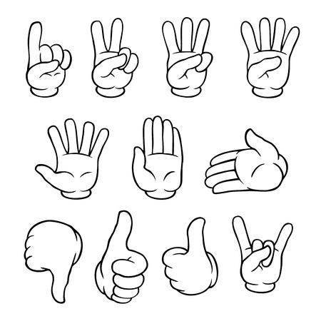 Set van zwarte en witte cartoon handen waaruit verschillende gebaren. Stock Illustratie