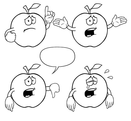 weep: Black and white crying apples with various gestures.