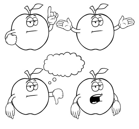 uncaring: Black and white bored apples with various gestures.