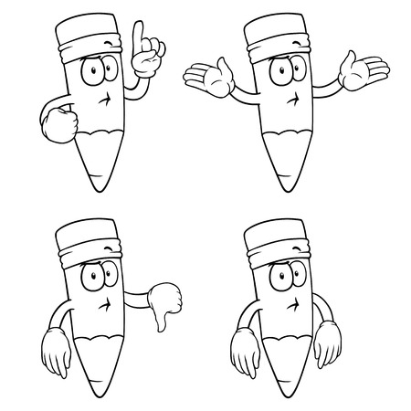 Black and white thinking cartoon pencils with various gestures. Vector