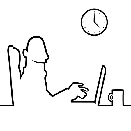 Black line art illustration of a man using a laptop or notebook  Illustration