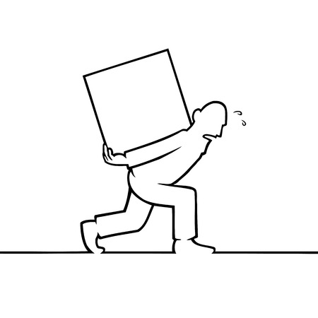box weight: Black line art illustration of a man carrying a heavy box