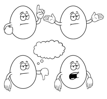 blase: Black and white bored eggs with various gestures.