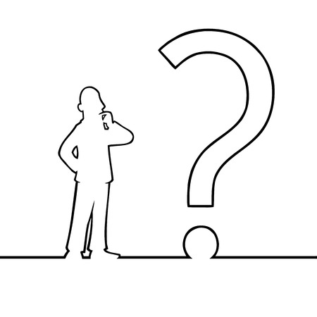 Black line art illustration of a man looking at a question mark. Vector