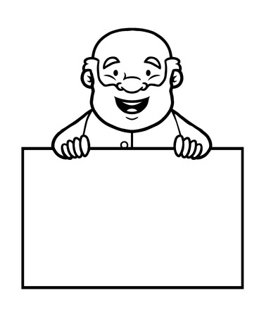 Black and white old man holding a blank sign and smiling. Vector