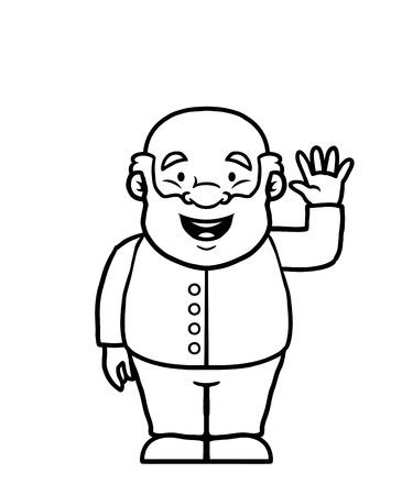 goodbye: Black and white old man waving happily at the camera
