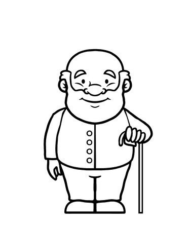 Black and white old man holding a cane and smiling. Vector