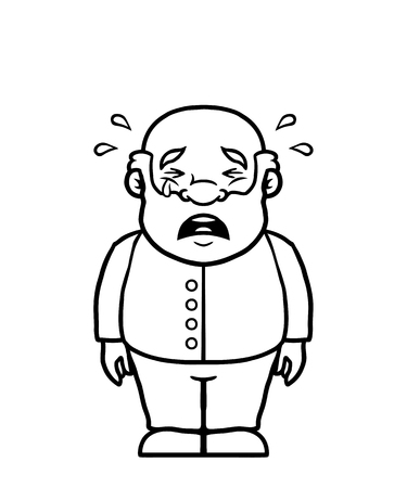 Black and white old man being sad and crying. Illustration