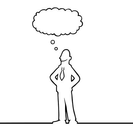 생각에 잠겨있는: Business man with a thought bubble above his head