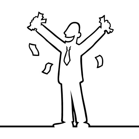 happy business man: Business man cheering with money in his hands