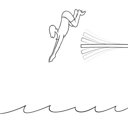 springboard: Hombre de buceo en el agua