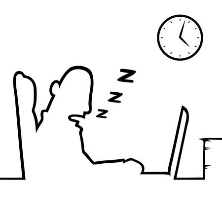 cansancio: Hombre dormido en el trabajo