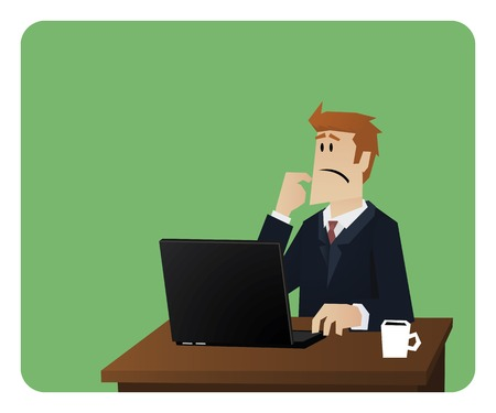 man illustration: Business man thinking behind computer desk