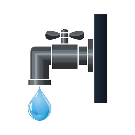 water tap: Water tap or faucet with droplet Illustration