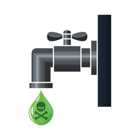 poisoned: Water tap or faucet with poison drop