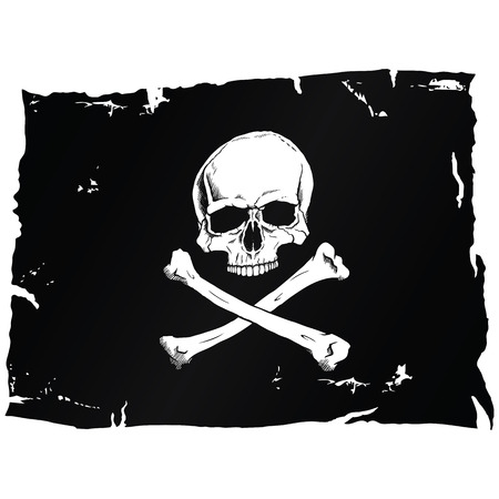 Pirate flag with skull Stock Illustratie