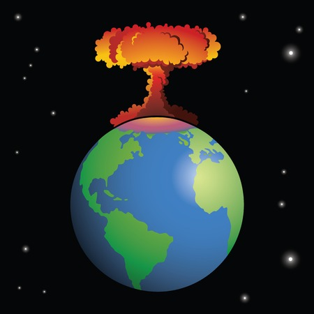 destroyed: Nuclear weapon exploding on Earth Illustration