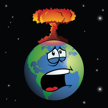 destroyed: Nuclear weapon exploding on cartoon Earth