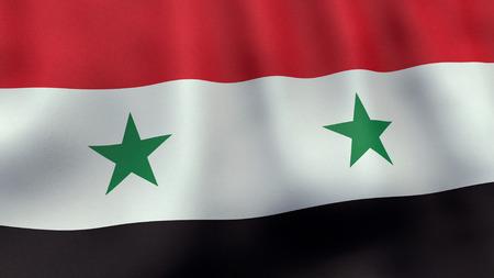 Syryjski: 3D świadczonych macha flagą Syrii Zdjęcie Seryjne