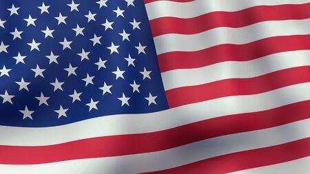 3D rendered waving American flag photo