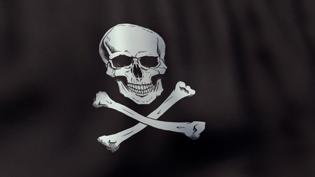 jolly roger: 3D rendered waving Jolly Roger pirate flag Stock Photo
