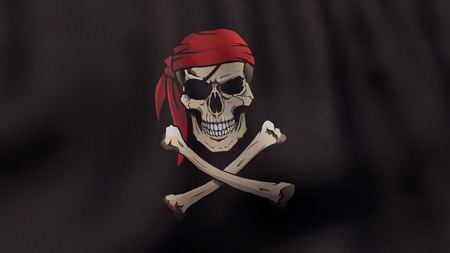 pirate flag: 3D rendered waving Jolly Roger pirate flag in color