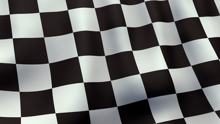 racing flag: 3D rendered waving checkered racing flag