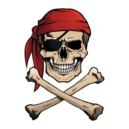 tete de mort: Jolly Roger pirate crâne et des os Illustration