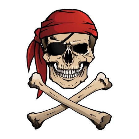 skeleton cartoon: Jolly Roger pirate skull and crossbones Illustration