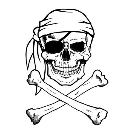 calavera caricatura: Cr�neo y bandera pirata piratea el Jolly Roger