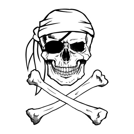 crossbones: Jolly Roger pirate skull and crossbones Illustration