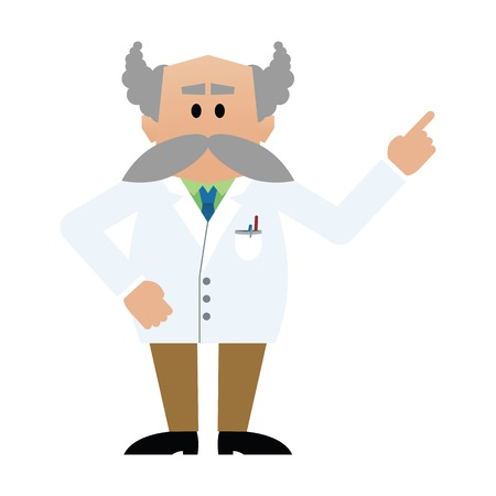 scientist man: Cartoon professor with moustache