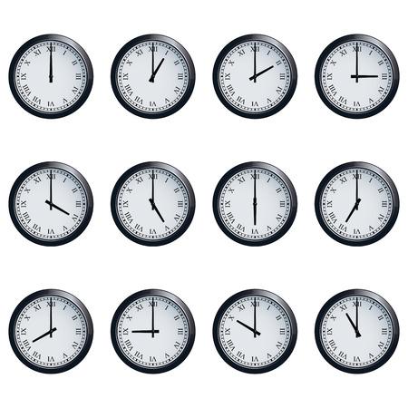numeros romanos: Conjunto de relojes de pared realistas con números romanos, con los tiempos establecidos en cada hora.