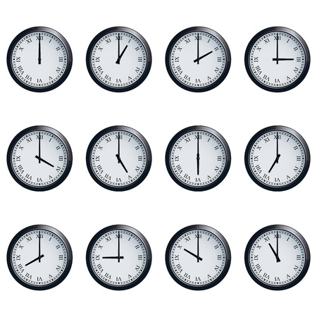 12 o'clock: Set of realistic wall clocks with Roman numerals, with the times set at every hour.