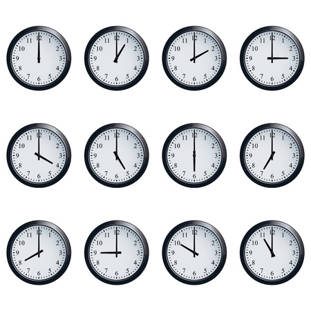 12 o'clock: Set of realistic wall clocks, with the times set at every hour.