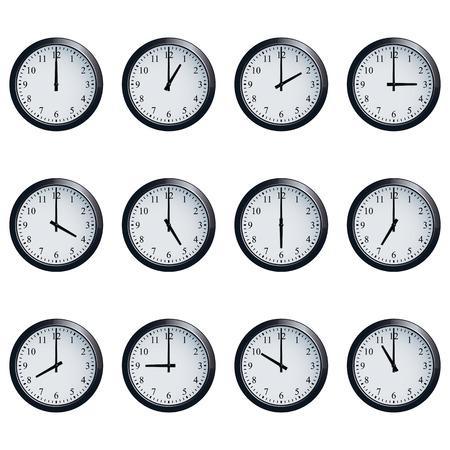 Zestaw realistycznych zegarów ściennych z czasów ustalonych na każdą godzinę.