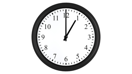 oclock: Realistic 3D render of a wall clock set at 1 oclock, isolated on a white background. Stock Photo