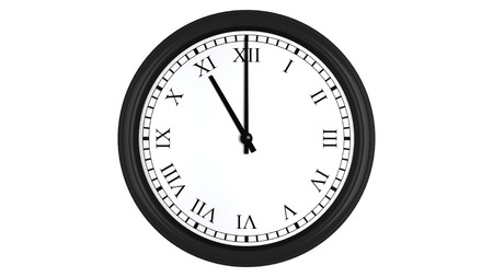 oclock: Realistic 3D render of a wall clock with Roman numerals set at 11 oclock, isolated on a white background.