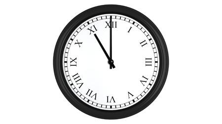 puntualidad: Render 3D realista de un reloj de pared con números romanos fijados a las 11 horas, aislados en un fondo blanco.