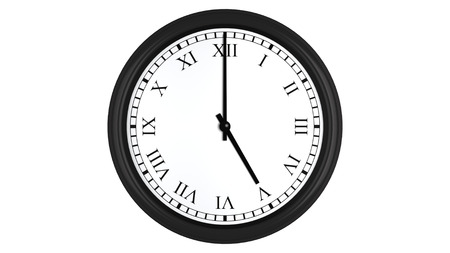 blue face: Realistic 3D render of a wall clock with Roman numerals set at 5 oclock, isolated on a white background.