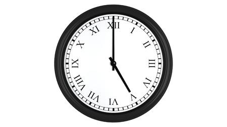 o�??clock: Render 3D realista de un reloj de pared con n�meros romanos establecidos en 5:00, aislados en un fondo blanco.